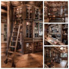 Custom-built home library in Arizona