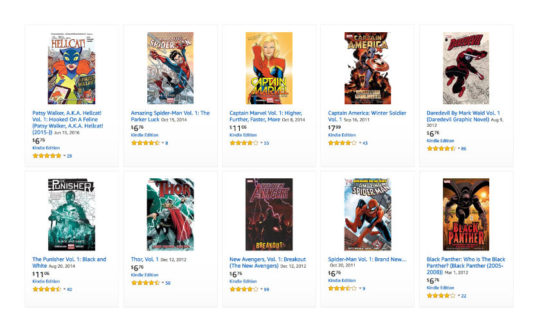 Find Marvel comic books on Amazon Prime Reading