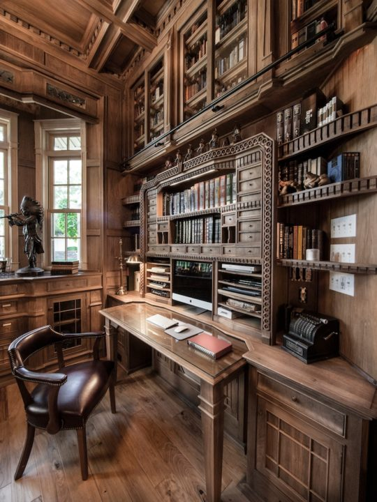 Modern Home Library Ideas: An Amazing Home Library Made Of 10,000 Pieces Of Walnut