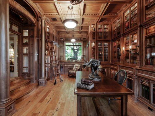 An Amazing Home Library Made Of 10,000 Pieces Of Walnut