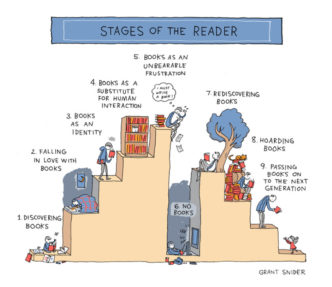 Stages of the reader - a cartoon by Grant Snider