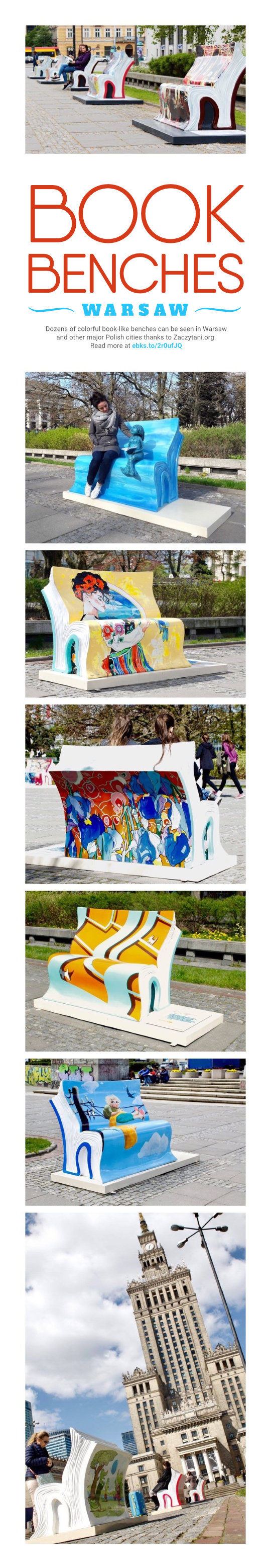 Warsaw book benches in pictures