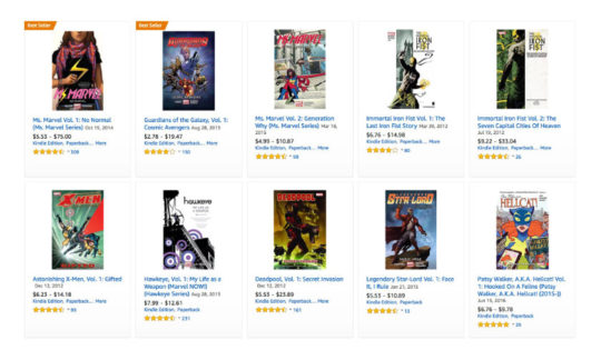 Which Marvel comics are available in Kindle Unlimited