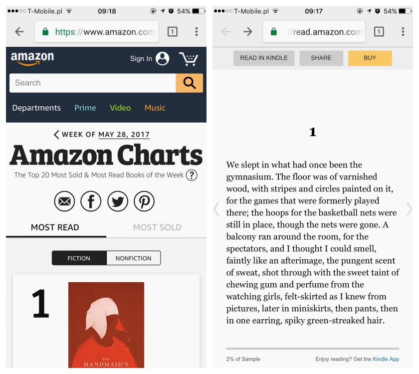 Amazon Charts can be easily accessed from mobile phones