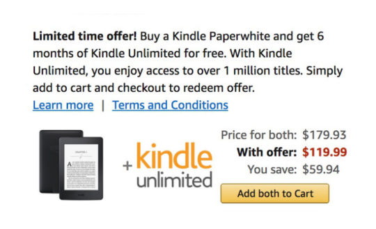 Kindle Paperwhite with 6 months of Kindle Unlimited for free