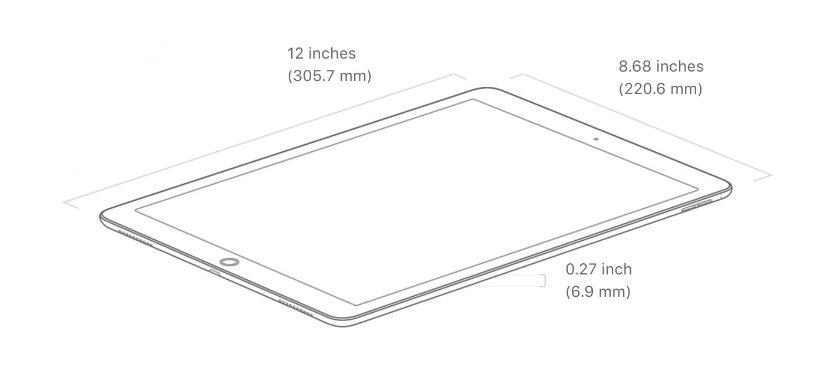 iPad Pro 12.9 (2017) - dimensions