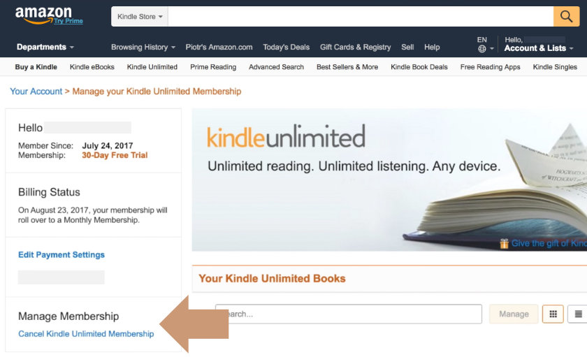 Cancel Kindle Unlimited - select Manage Membership