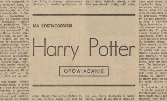 Harry Potter - a short story by Jan Rostworowski in a Polish literary magazine Zycie Literackie