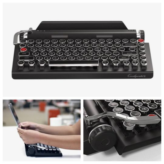 Qwerkywriter Vintage Typewriter Mechanical Keyboard with Integrated Tablet Stand