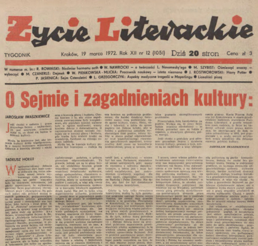 Życie Literackie from 1972 with Harry Potter short story