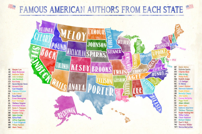 Famous authors from each US state - literary map