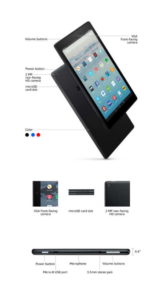 Amazon Kindle Fire HD 10 2017 - tech specs and ports