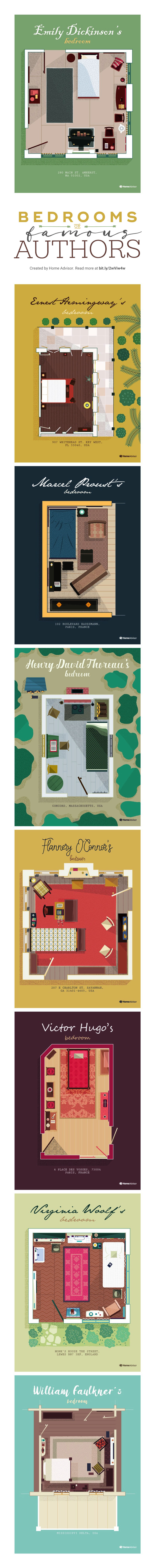Bedrooms of famous writers #infographic