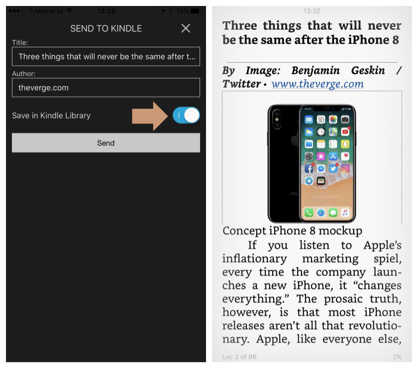 Customize Send to Kindle options before sharing the article on the iPad and iPhone