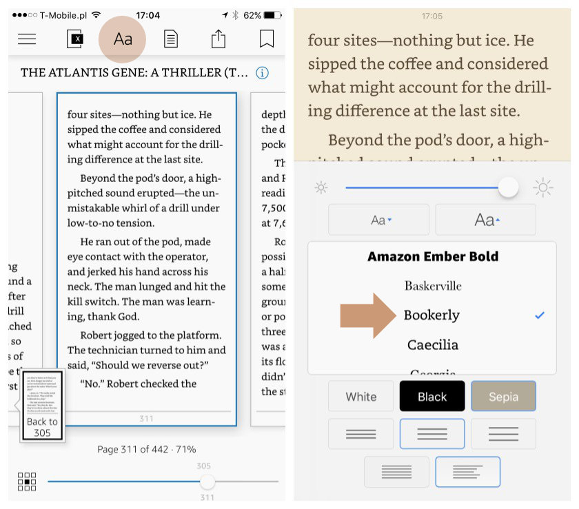 Customize the settings in Kindle app for iPad and iPhone