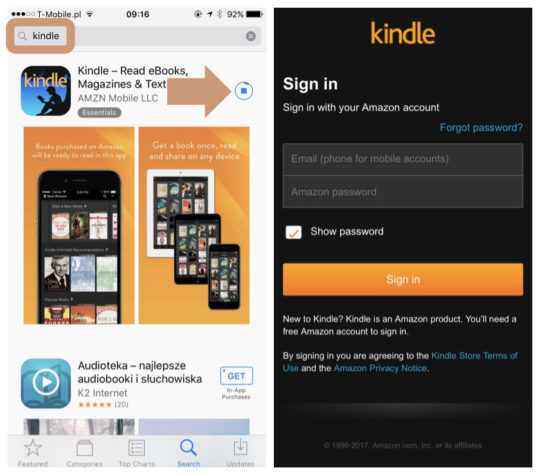 Download and register Kindle app for iPad iPhone