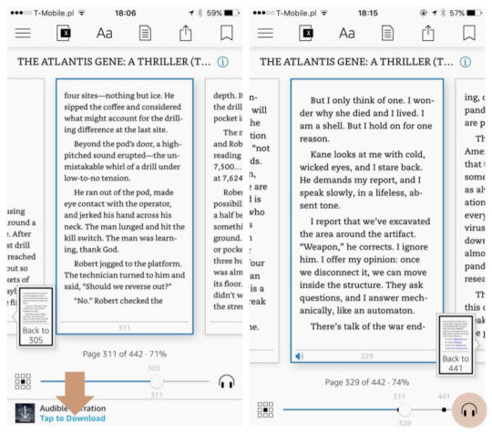 Enable Whispersync for Voice and Audible narration on Kindle app for iPhone and iPad