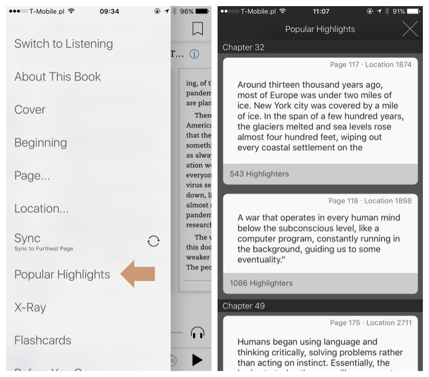 Explore popular highlights on the Kindle app for iOS