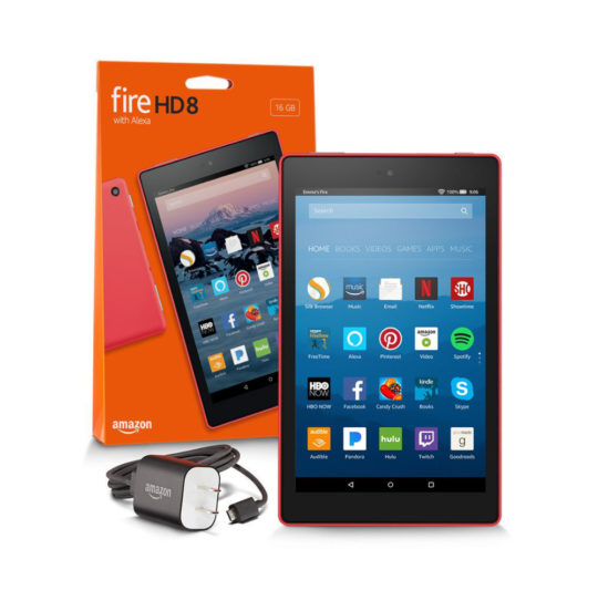 Fire HD 8 box includes the tablet, charger, USB cable, and quick start guide