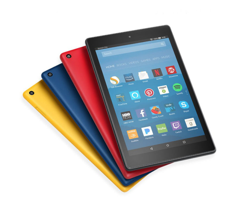 Fire HD 8 tablet from Amazon comes in four colors: Canary Yellow, Marine Blue, Punch Red, and Black