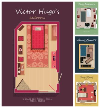 Floor plans of famous authors bedrooms - visuals by Home Advisor