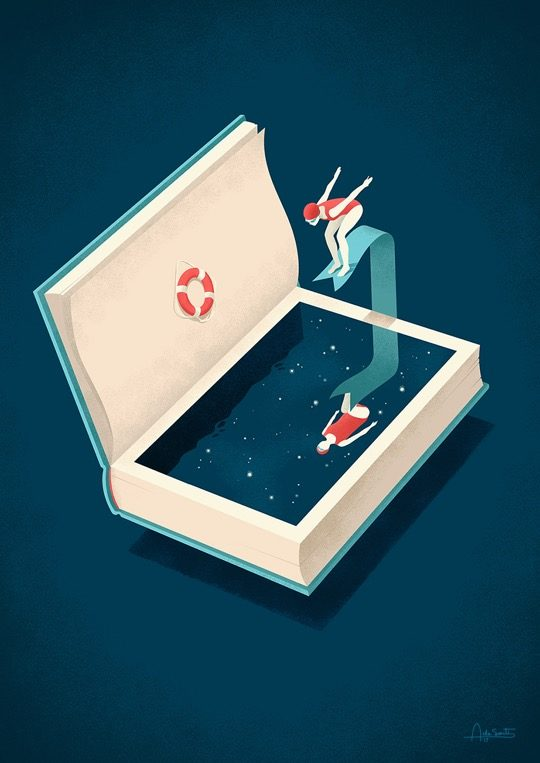 Illustrations about books - Andrea De Santis - Dive into a good book