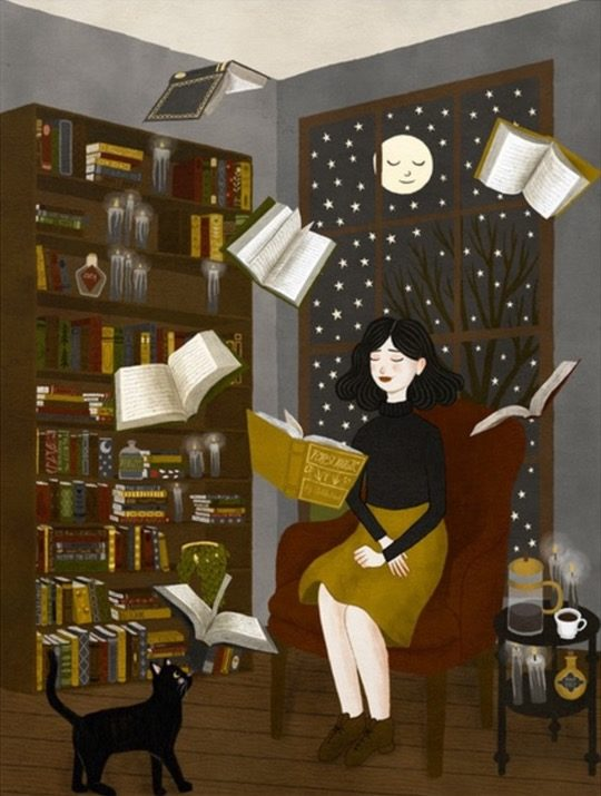 Illustrations about books - Annya Marttinen - Reading at home