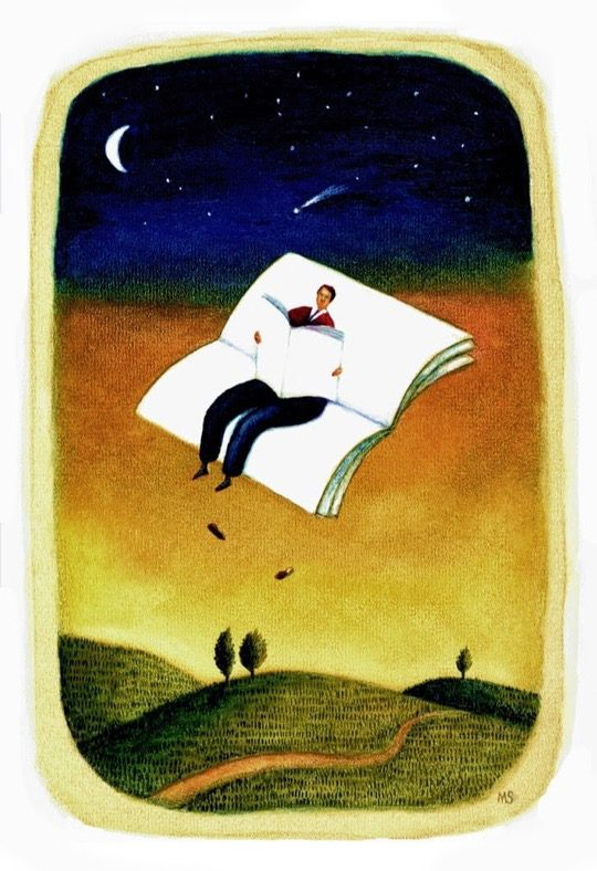 Illustrations about books - Mariusz Stawarski - Evening reading