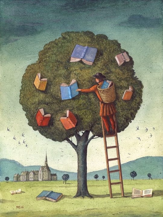 Illustrations about books - Mariusz Stawarski - The library