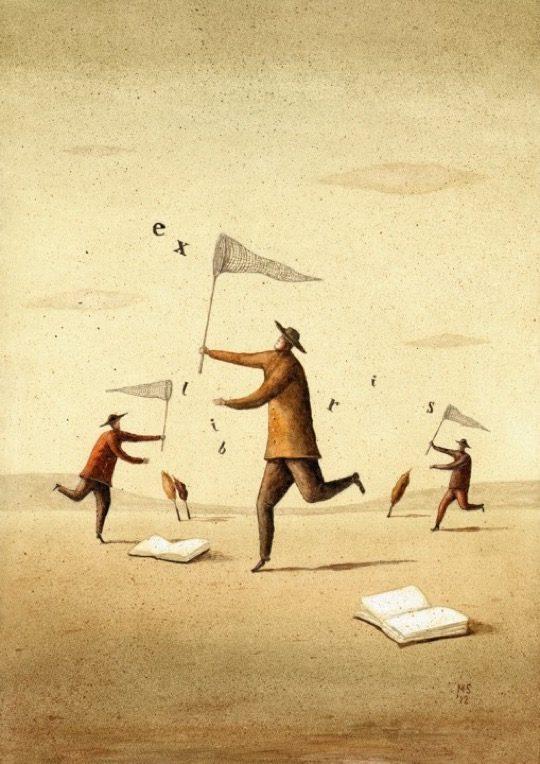 Illustrations about books - Mariusz Stawarski - Word hunting