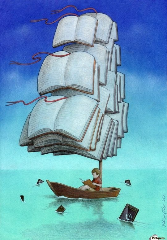 Illustrations about books - Pawel Kuczynski - Sailing with sharks
