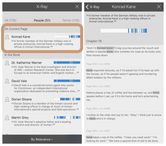 Kindle for iOS - X Ray shows a detailed information about characters from books