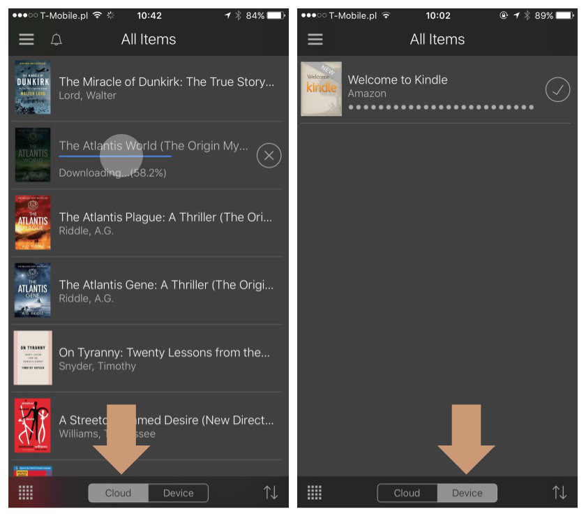Kindle for iOS - import the books from your Kindle library