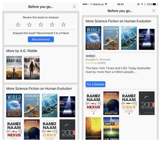 Kindle for iOS includes book recommendations after you finish reading a book