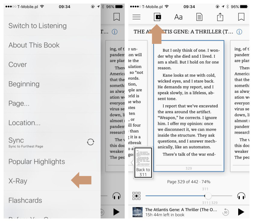 Kindle for iPad iPhone - how to find X Ray