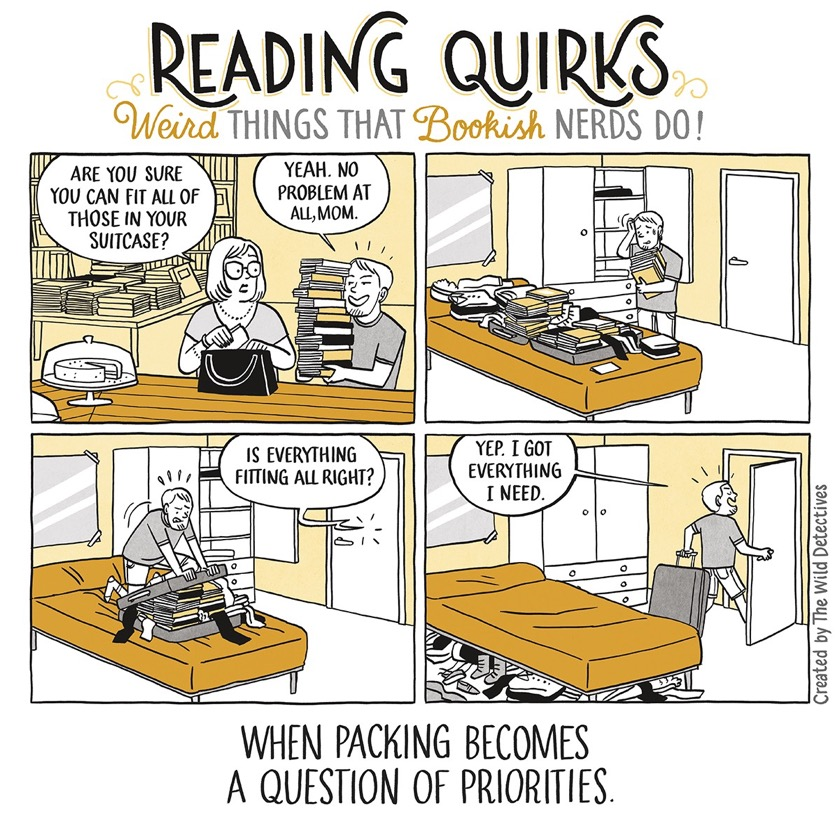 Packing books for a journey #cartoon