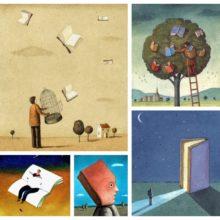 Stunning illustrations about books by Mariusz Stawarski