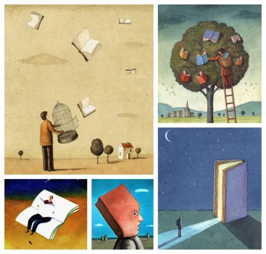 Stunning illustrations about books by Mariusz Stawarski