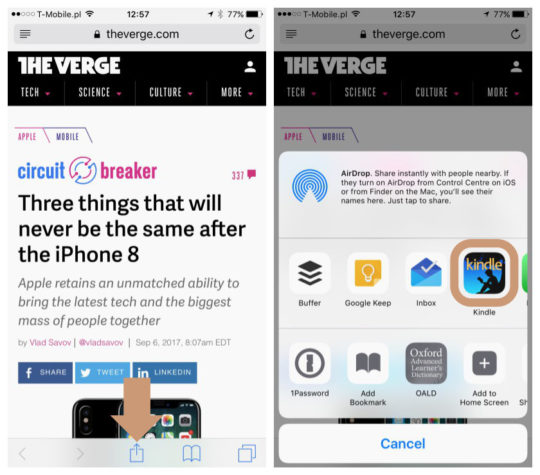Use share menu on iOS to send an article to Kindle app for iPhone and iPad
