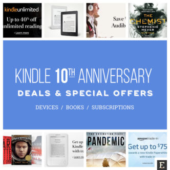 A round-up of Kindle 10th anniversary deals - Kindle e-readers and books, Kindle Unlimited, Audible, and more