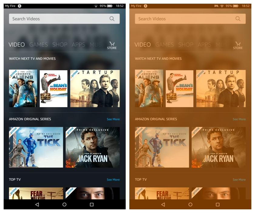 Amazon Fire HD 8 tablet - the screen without and with Blue Shade on