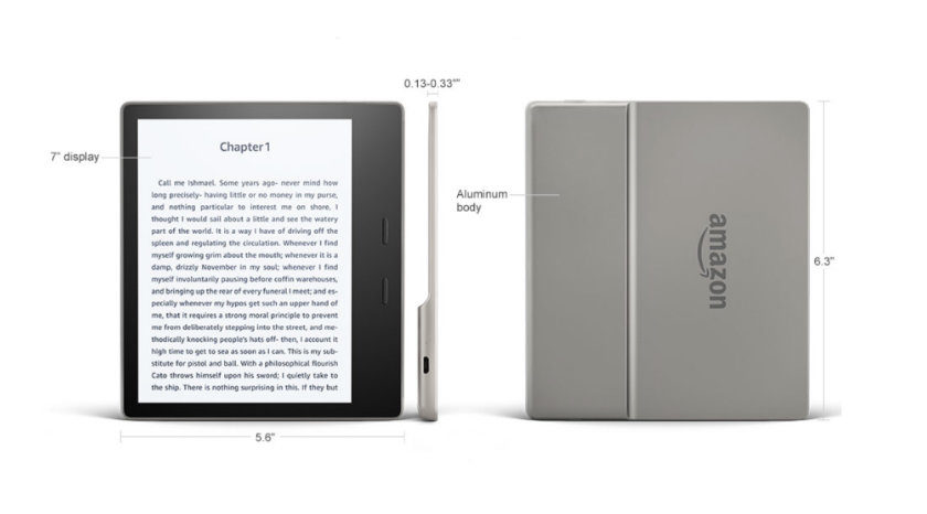 Full tech specs of the 2017 Kindle Oasis waterproof e-reader from Amazon