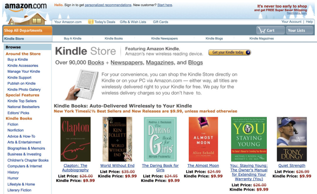 Kindle Store in November 2007