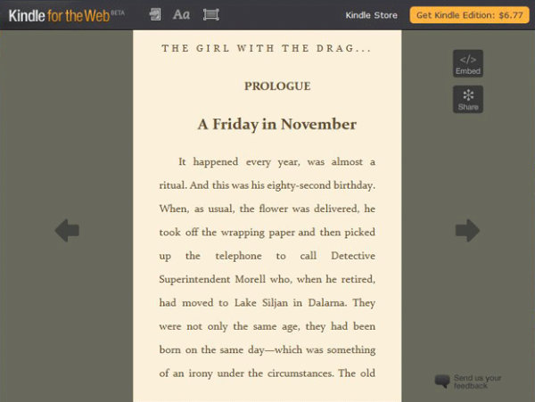 Kindle for the Web was launched in September 2010
