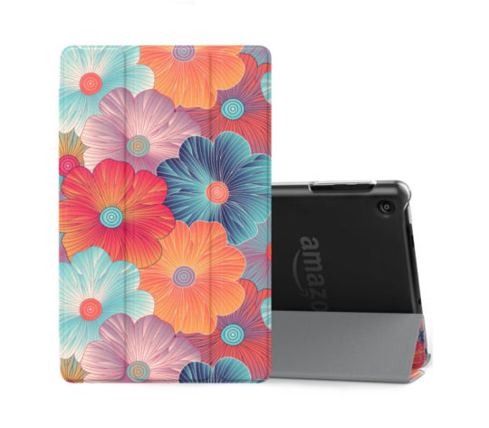 Slimline floral Amazon Fire HD 8 stand case