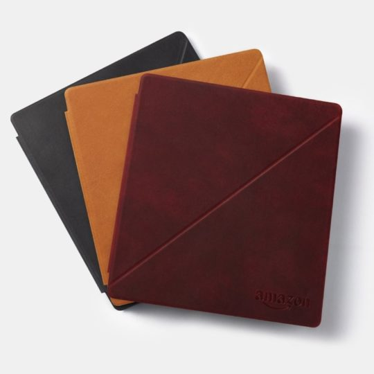 Premium leather case covers for Kindle Oasis are available in three colors