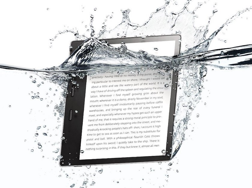 The second-generation Amazon Kindle Oasis is waterproof and has IPX8 water-resistance rating