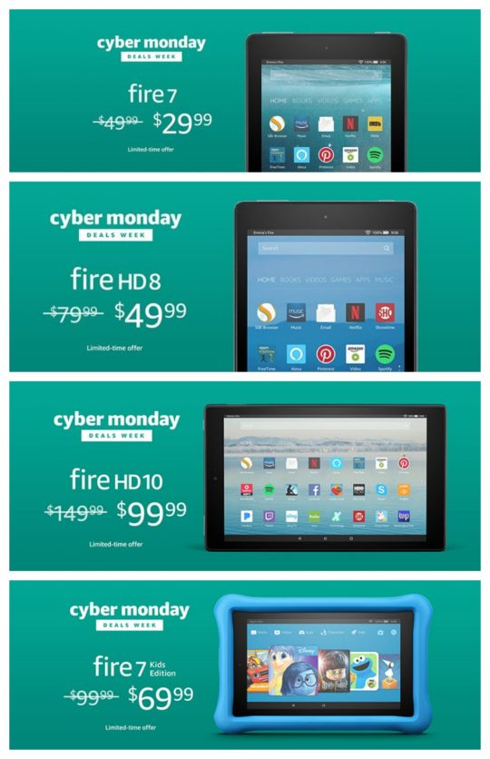 A complete list of Cyber Monday 2017 Amazon Fire deals