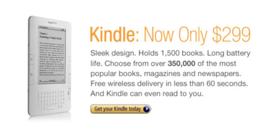 An ad for the 2nd-generation Kindle on the front page of Kindle Store, September 2009