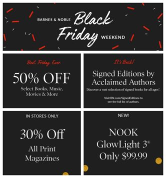 Black Friday and Cyber Monday 2017 Barnes & Noble deals on print and Nook books